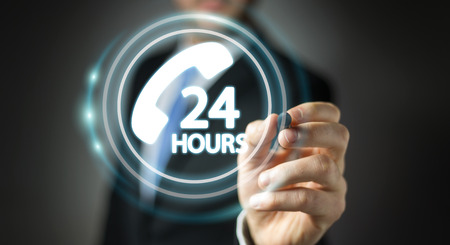 Businessman on blurred background using hotline customer assistance 3D rendering
