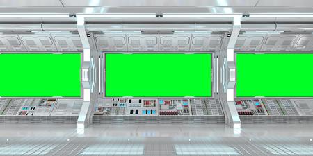 Raumschiffinnenraum mit Ansicht über grüne Wiedergabe der Fenster 3D