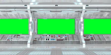 Spaceship interior with view on green windows 3D rendering 免版税图像 - 86046715