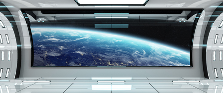 Spaceship bright interior with view on planet Earth 3D rendering Stock Photo - 86046729