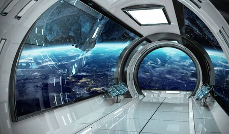 Spaceship interni luminosi con vista sul pianeta Terra Rendering 3D