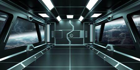 Vaisseau spatial intérieur sombre avec vue sur système de planètes distantes rendu 3D