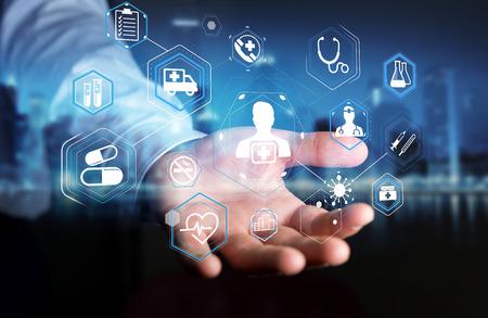 Geschäftsmann auf unscharfen Hintergrund mit modernen medizinischen Schnittstelle 3D-Rendering