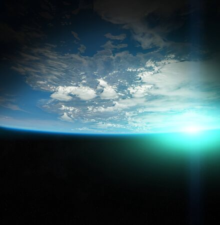ray of light: Sunrise on Earth from space 3D rendering