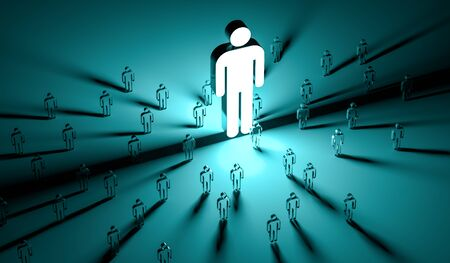 Leader illuminating a group of people on dark background 3D rendering