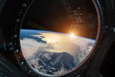 Window view of planet earth from a space station in space 3D rendering Foto de archivo