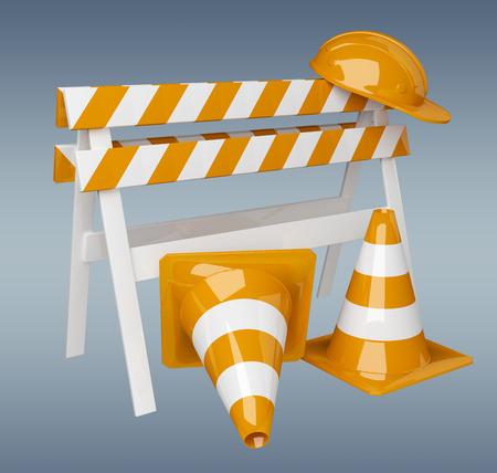 Digital 3D rendering under construction signs on grey background
