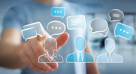 Businessman on blurred background touching discussion icons sketch