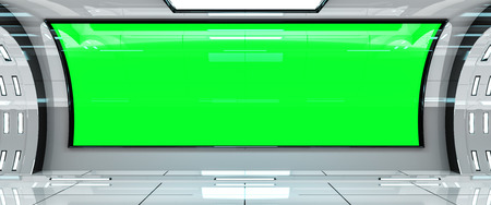 Spaceship bright interior with green window view 3D rendering Фото со стока - 85976025