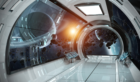 Spaceship bright interior with view on distant planets system 3D rendering elements of this image furnished by NASA Stock Photo