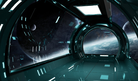 Spaceship dark interior with view on distant planets system 3D rendering elements of this image furnished by NASA Stock Photo - 86477324