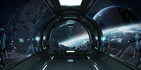 Spaceship dark interior with view on distant planets system 3D rendering Stock Photo - 86528493