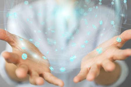 Businesswoman on blurred background using holograms datas digital sphere 3D rendering Stock Photo