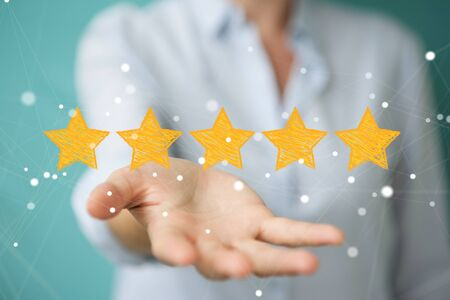 Businesswoman on blurred background rating with hand drawn stars Фото со стока