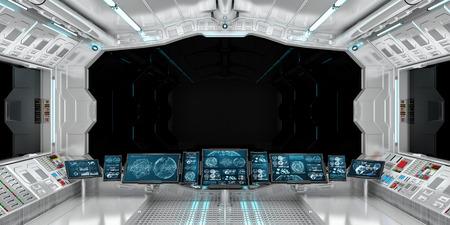 Interior da nave espacial com vista sobre elementos de renderização em 3D janela preta Foto de archivo