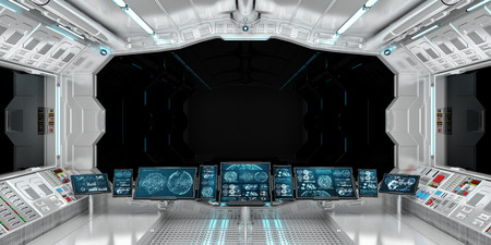 Spaceship interior with view on black window 3D rendering elements Standard-Bild