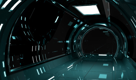 Spaceship dark interior with black window view 3D rendering Stock Photo