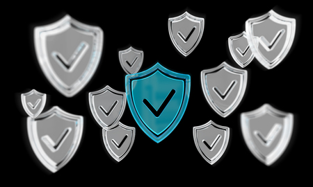 Modern digital data shield antivirus on black background 3D rendering Stock Photo