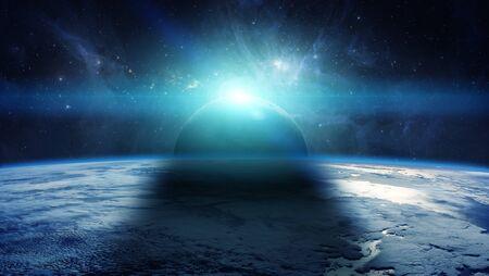 보름달 이클립스 동안 지구의보기 3D 렌더링 요소 스톡 콘텐츠