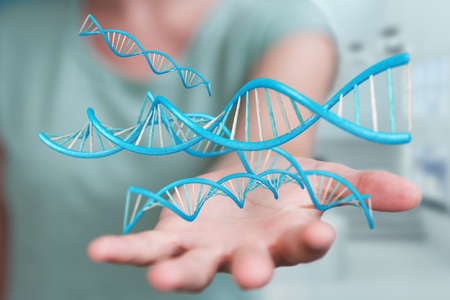 Businesswoman on blurred background using modern DNA structure 3D rendering