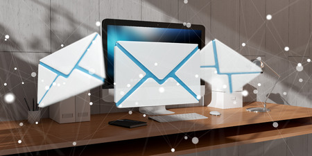 White and blue email flying over modern desktop interior 3D rendering Фото со стока