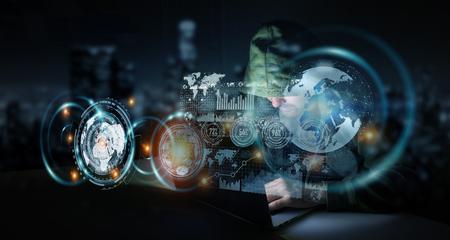 Hacker toegang tot persoonlijke gegevens informatie met een computer in een donkere kamer 3D rendering