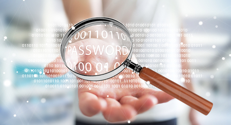 Hacker on blurred background using digital magnifying glass to find password 3D rendering