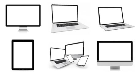 technology background: Modern digital silver tech device collection on white background 3D rendering