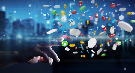 narcotic: Businessman on blurred background holding and touching floating medicine pills 3D rendering