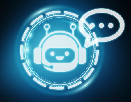 Chatbot illustration on blue background 3D rendering