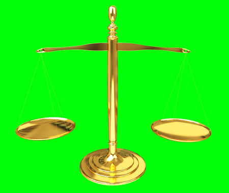 Justice weighing scales isolated on green background 3D rendering