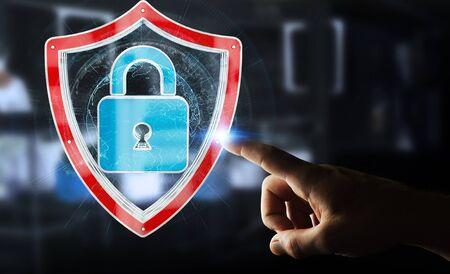 Businessman on blurred background using modern data shield antivirus 3D rendering Stock Photo