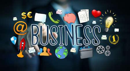 Businessman on blurred background using hand-drawn business presentation