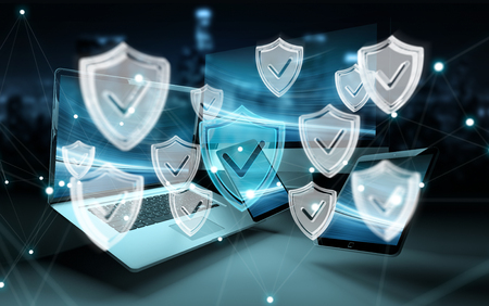Antivirus interface over modern tech devices in dark background 3D rendering