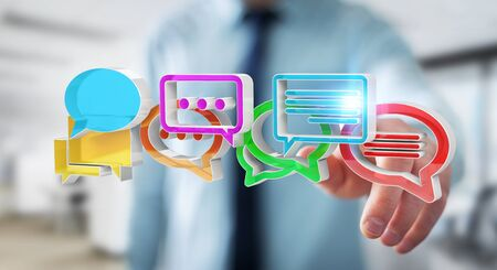 Businessman on blurred background using digital colorful 3D rendering conversation icons