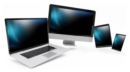 technology background: Modern digital silver tech device on white background 3D rendering