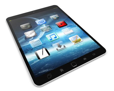 technology background: Modern digital tactile tablet on white background 3D rendering Stock Photo