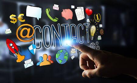 gente comunicandose: Hombre de negocios en fondo borroso utilizando texto manuscrito de contactos Foto de archivo