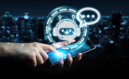Geschäftsmann auf dem unscharfen Hintergrund, der mit Chatbot-Anwendungs-Wiedergabe 3D plaudert Standard-Bild - 87773235