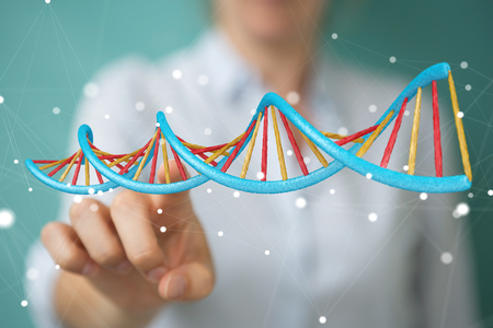 現代 DNA 構造 3 D レンダリングを使用して背景をぼかした写真の実業家