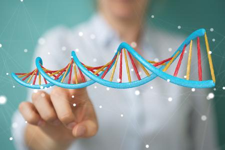 Zakenvrouw op wazige achtergrond met behulp van moderne DNA-structuur 3D-weergave