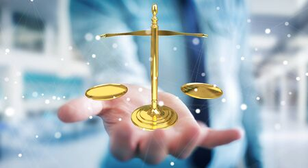 Businessman on blurred background with justice weighing scales 3D rendering