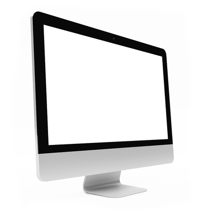 technology background: Modern digital silver and black computer screen on white background 3D rendering Stock Photo