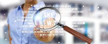 Businesswoman on blurred background discovering fake news information 3D rendering