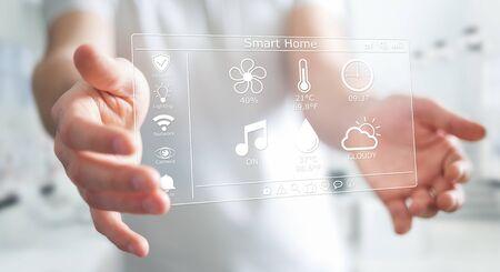 Businessman on blurred background using smart home digital interface 3D rendering