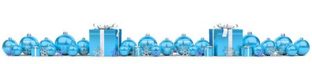 Blue and white christmas gifts and baubles lined up on snowy background 3D rendering Stock Photo