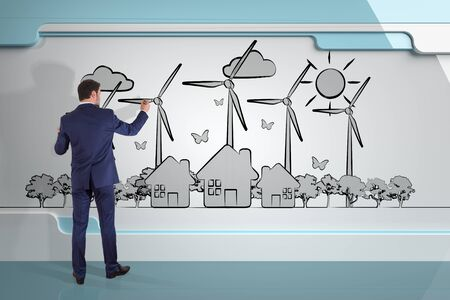 power of thinking: Businessman in modern interior drawing renewable energy sketch on a board 3D rendering