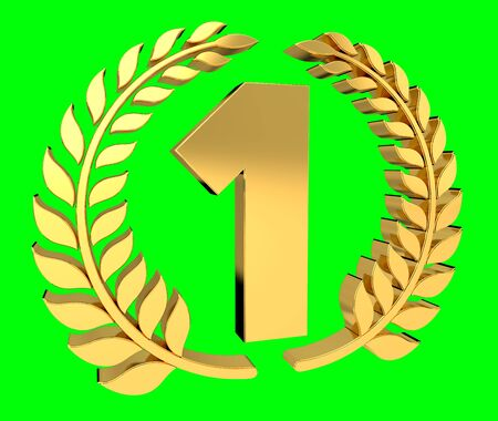 First golden price icon on green background 3D rendering