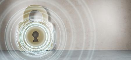 Hacken op digitale huisbeveiliging in moderne interieur 3D-rendering Stockfoto