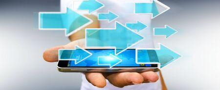 Businessman on blurred background using digital modern arrow over mobile phone 3D rendering